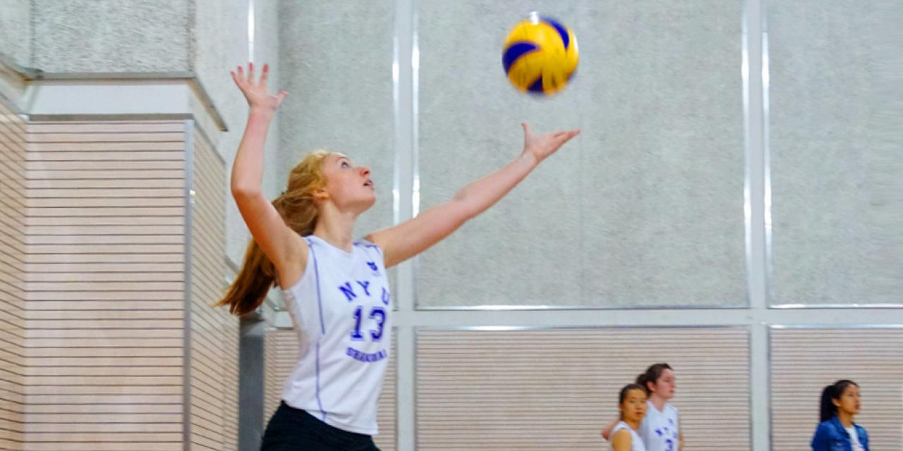 The NYUSH Women's Volleyball team took to court against ENCU, losing out to the partner school on October 20. Greta ('20) serves. (Photos by: Nacole Abram)