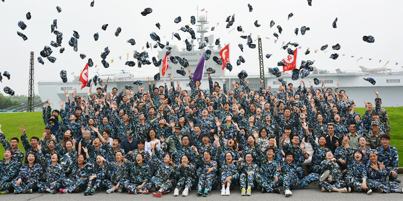 Over 150 Chinese freshmen, a handful of sophomores and one volunteer foreign student participated in compulsory military training for 10 days at a drill camp west of Shanghai. (Photos by: NYU Shanghai)