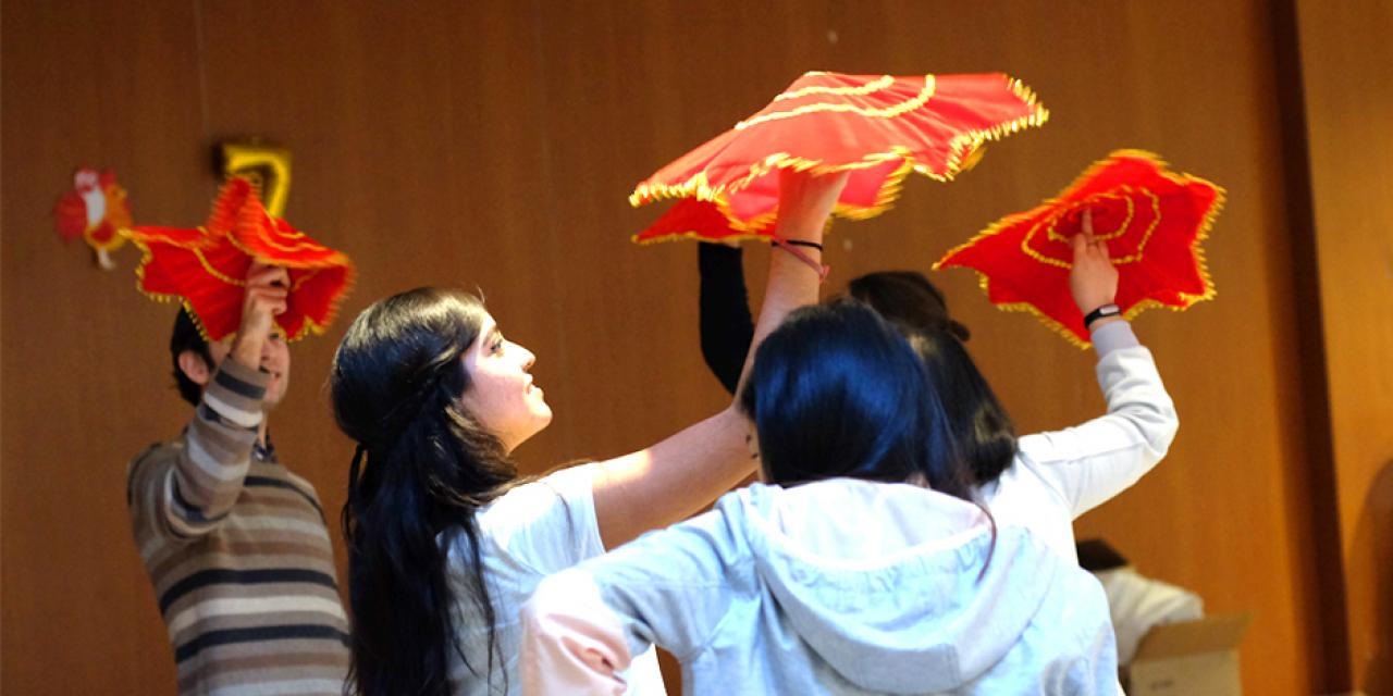 In celebration of the Lantern Festival this year of the rooster, the Chinese Language Program, in collaboration with Residential Education organized a gathering with games and activities including paper lantern decoration and calligraphy. (Photo by: NYU Shanghai)