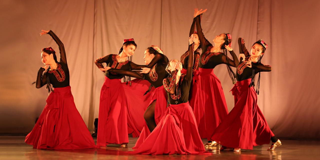A flurry of dance, music, drama performances, art, photography and tech exhibitions showcasing the talent, diversity and hard work of NYU Shanghai students closed out the Fall 2018 semester this week. Here, students perform a traditional Uighur dance, titled Heart Flutter, accompanied by the well-known Uighur folk song, Lifting Your Veil.