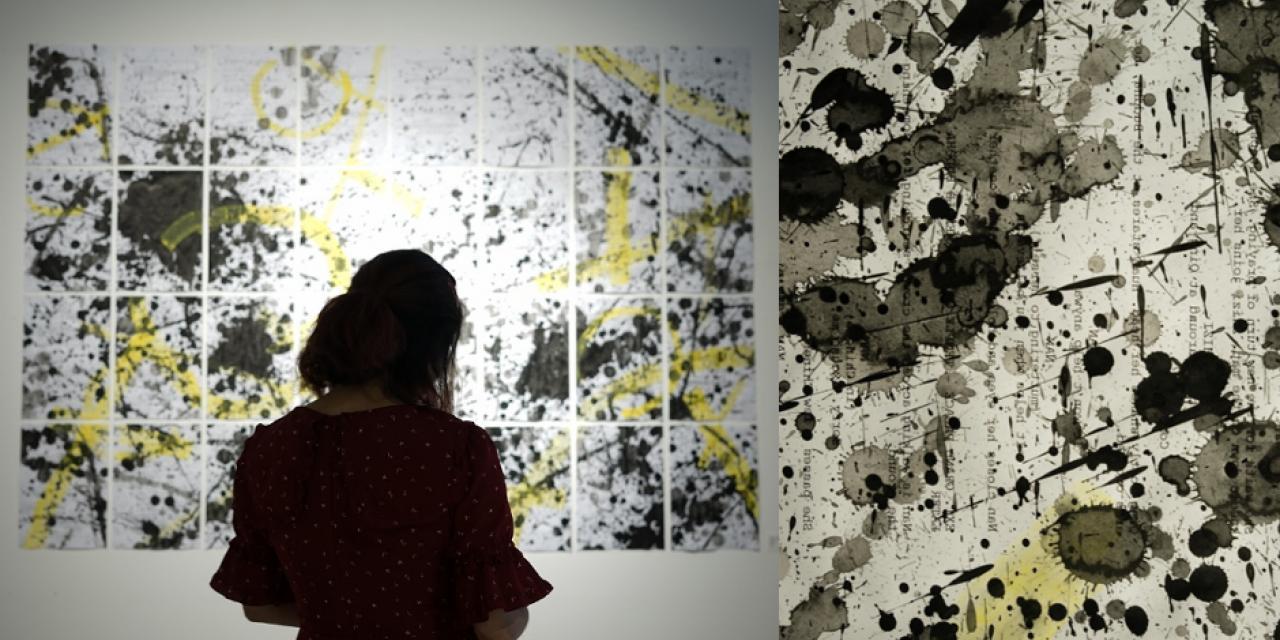 """2019届学生宗景天的作品""""Splash""""是一幅讨论语言、文化碰撞和多语言写作体验的拼贴画作品,中国水墨和黄色水粉被泼洒在艺术家30多页的剧本上。"""