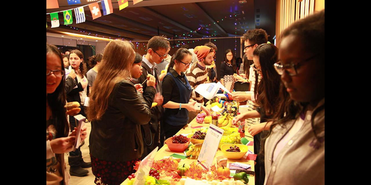 Students explore NYU's global sites at the World Bazaar. November 13, 2014. (Photo by Kylee Madison Borger)