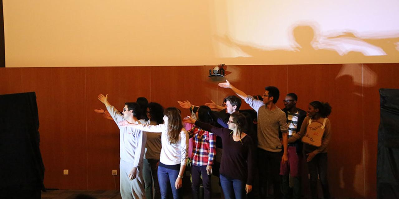 NYU Shanghai students wrote, rehearsed, and performed four plays in 24 hours. November 8, 2014. (Photo by Annie Seaman)