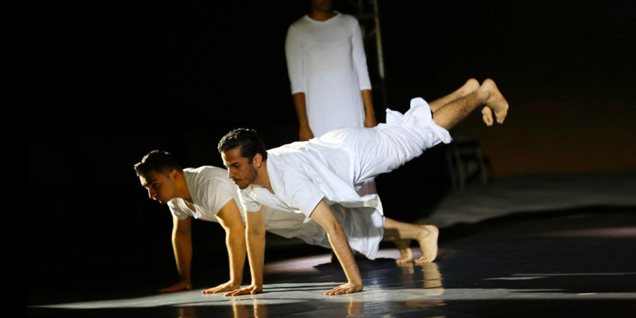 "Robert Melikyan '21 and Abdullah Mobeen '19 from Choreography & Performance dancing to ""Trójkąt Cz.1, Tylko Ty, Trójkąt Cz.2"" by JIMEK and Adam Aston / ""Heroes"" written by David Bowie and Brian Eno, sung by Peter Gabriel."