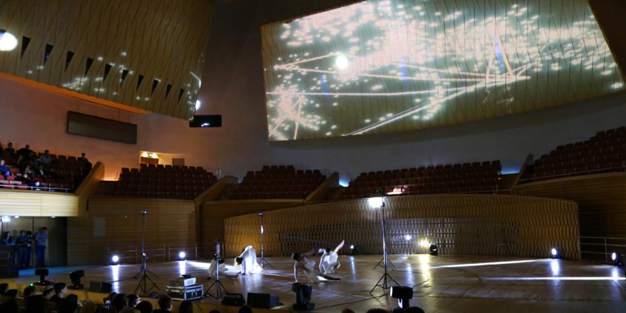 The group used Optitrack motion sensors to translate the dancers' real-world location and movement into digital space. (Photo: NYU Shanghai)