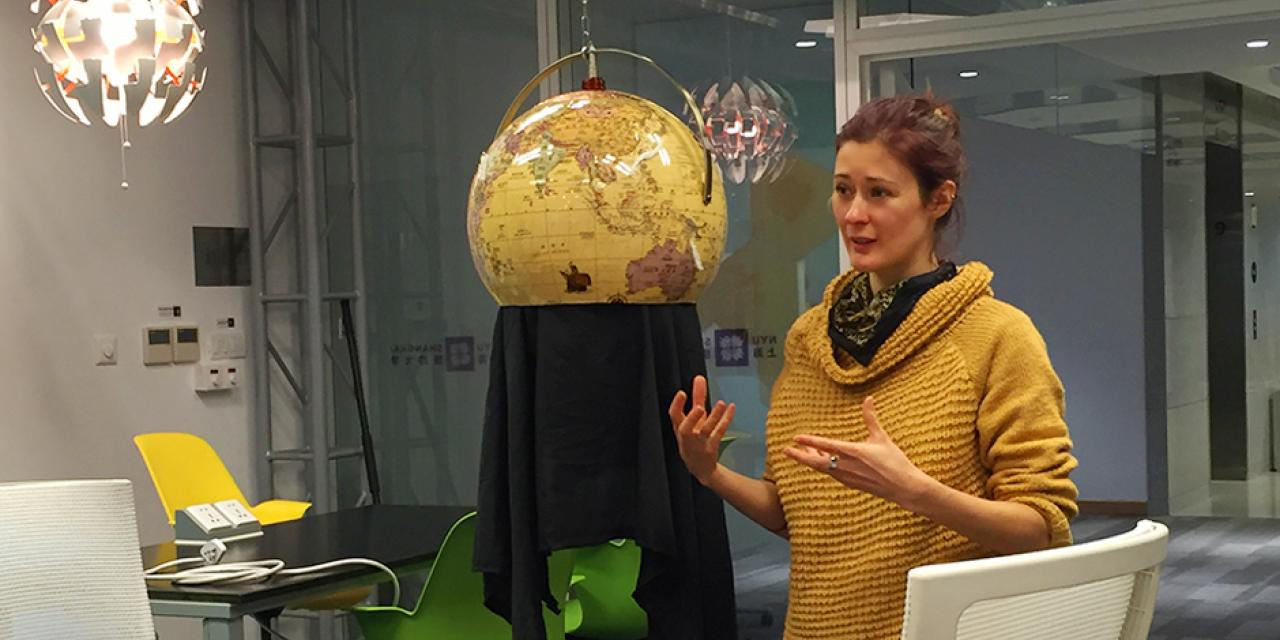 NYU Shanghai's artist in residence Kat Austen discussed her installation the Coral Empathy Device at an art workshop held April 12. (Photo by: NYU Shanghai)