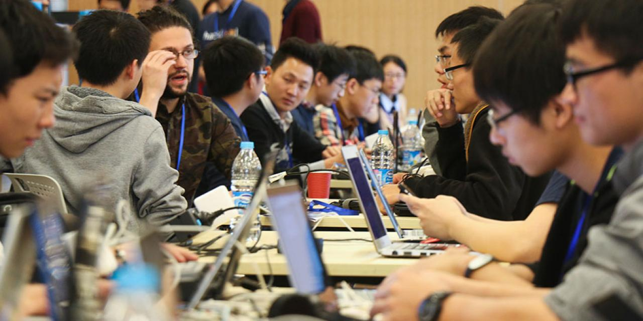 250 of the world's top student programmers competed in HackShanghai, a 24-hour coding marathon. November 15-16, 2014. (Photo by Kadallah Burrowes)