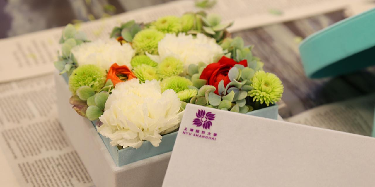 On March 8, Women's Day was in full bloom with an afternoon of NYU Shanghai's special ladies getting creative with DIY flower arrangements for the office or home. (Photo by: NYU Shanghai)