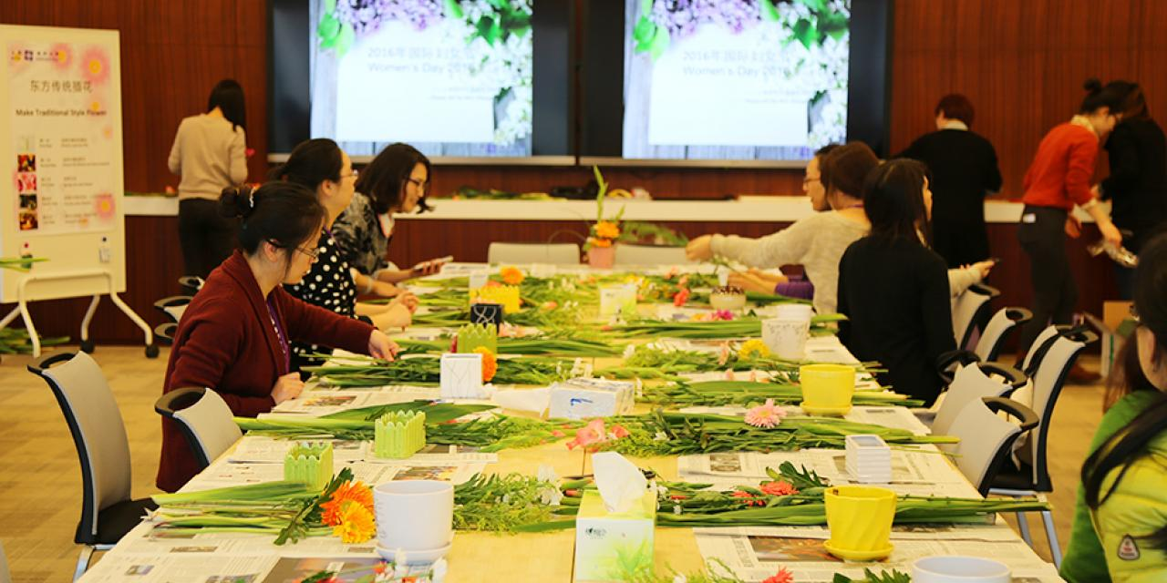 March 8, Women's Day was in full bloom with an afternoon of NYU Shanghai's special ladies getting creative with DIY flower arrangements for the office or home. Many thanks to HR for such a beautiful arrangement! (Photo by: NYU Shanghai)