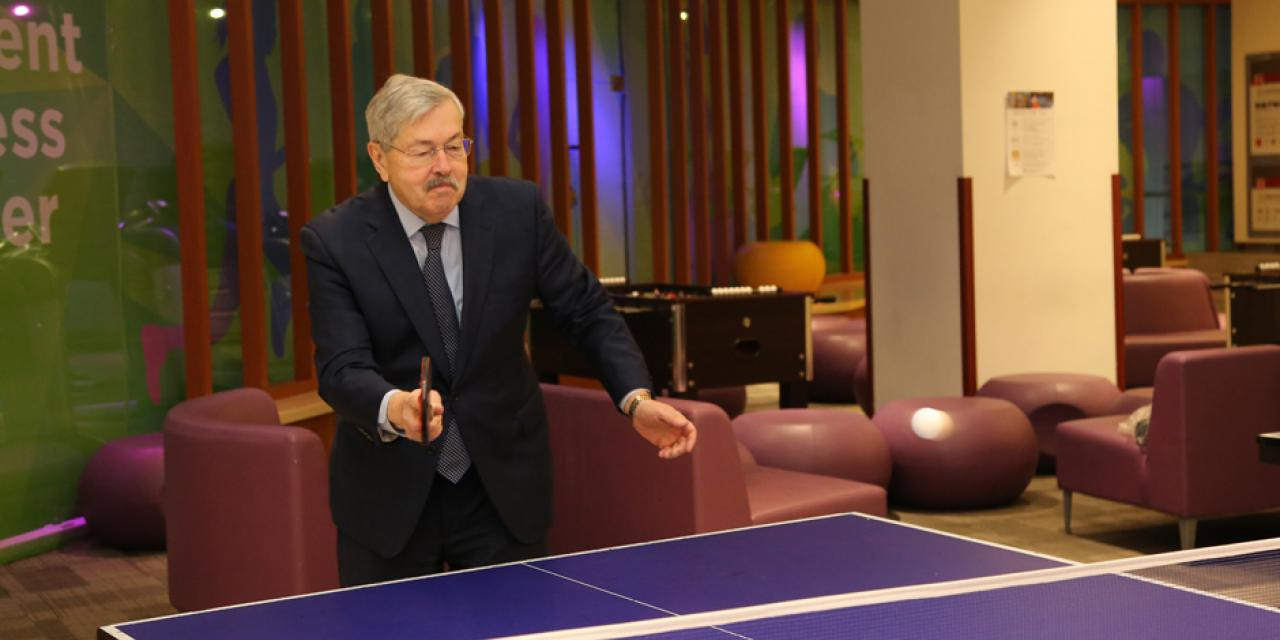 Ambassador Terry Branstad showcases his ping pong skills.