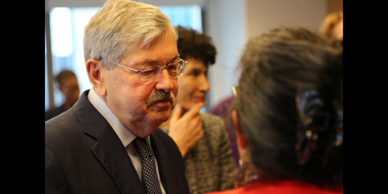 "Branstad also encouraged more Americans to come to China: ""This is an exciting, dynamic, and changing place,"" he said, noting that his own daughter had decided to come teach and live in China with her young family for a while. ""You have to have a sense of adventure, but wow - what an opportunity!"""