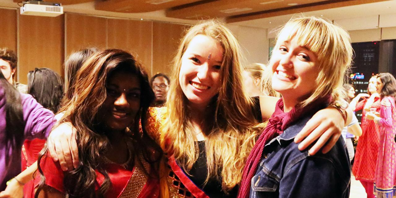NYU Shanghai students celebrated the Hindu festival, Diwali, October 22, 2014. (Photo by Annie Seaman)
