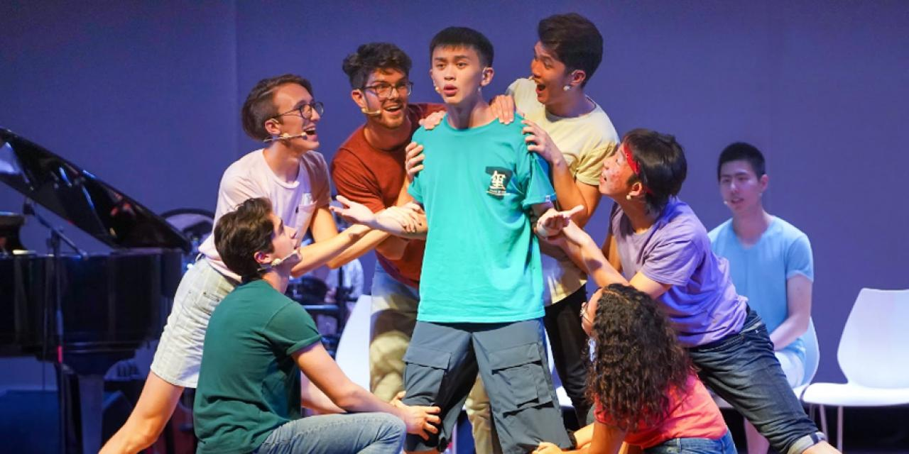 "12 sophomores took to the stage at East China Normal University on September 11 to perform NYU Shanghai's 6th annual ""Reality Show,"" an original musical about life at NYU Shanghai created by the students themselves for the incoming freshman class."
