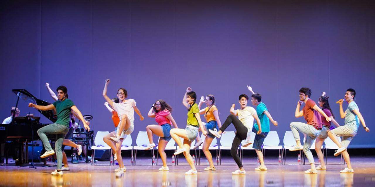 Cast members, who auditioned for roles in the preceding spring, spent two months in New York City during the summer break creating new content and improving their performing skills. Brainstorming ideas, composing melodies, writing scenes and lyrics, choreographing dances -- the process is all about teamwork.