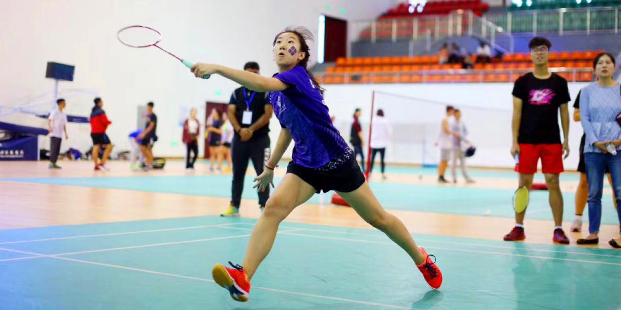 On September 23 and 24, 6 members from NYU Shanghai's badminton team broke the university record for wins in Pudong's 6th Sports Games competition at Shanghai DianJi University. (Photo by: NYU Shanghai)