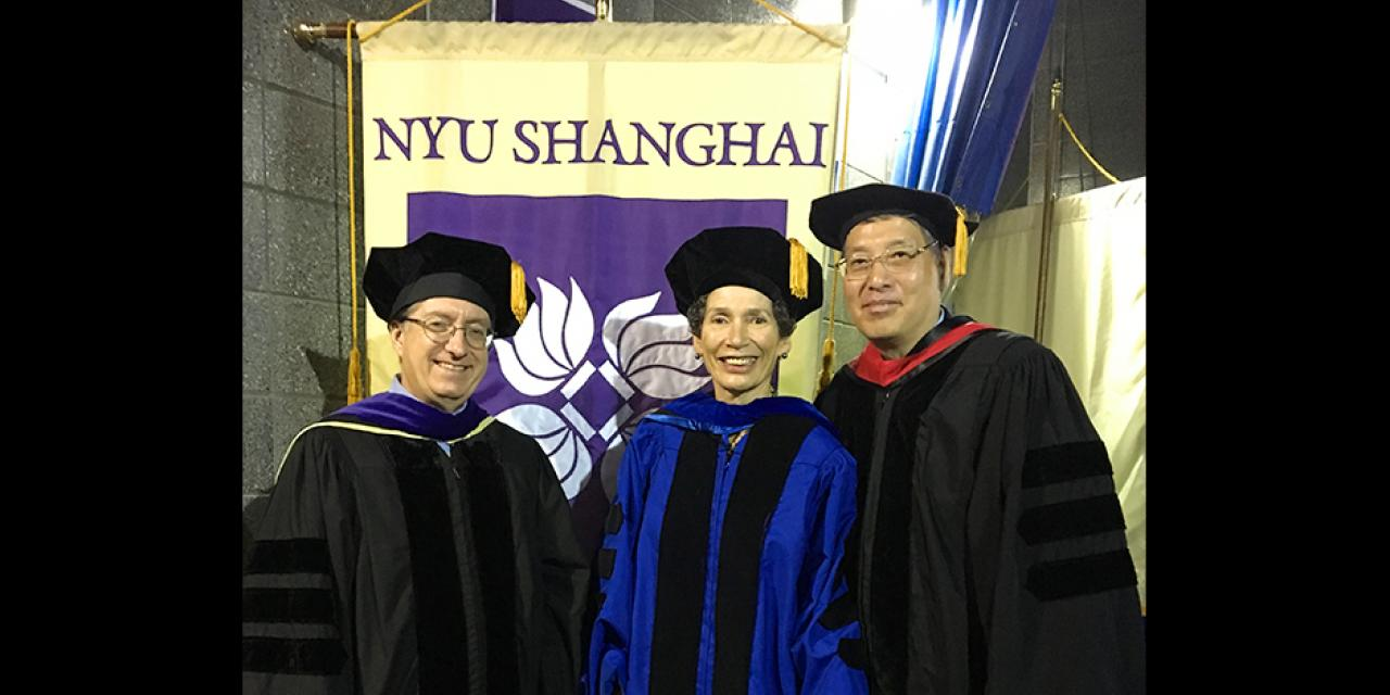 Also attending the ceremony from NYU Shanghai were (left to right) Vice-Chancellor Jeffrey Lehman, Provost Joanna Waley Cohen and Chancellor Yu Lizhong
