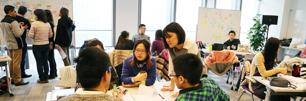 The first-ever DBS Digital Express Challenge at NYU Shanghai provides participants with Design Thinking and Lean Startup methodology training. January 24, 2015. (Photo by Sunyi Wang)