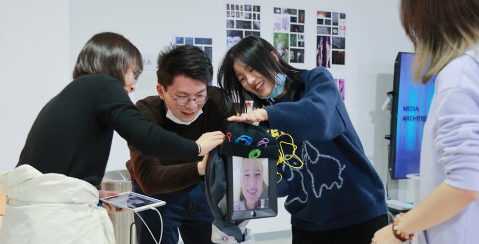 The Interactive Media Arts team created a special Zoom robot for the IMA End of Semester Show, which wheeled around and visited all of the exhibitions so that students could join remotely and be part of the action no matter where they were.