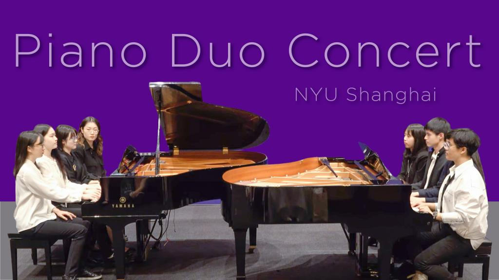 """On May 7th, NYU Shanghai professor Chen Meiling's piano students played in pairs in a concert named """"Symphonic Dances."""" Each piece was played by two or more students. The final piece on the program featured eight students from the advanced piano group class, with sixteen hands on two pianos playing Galop-Marche, by A. Lavignac."""