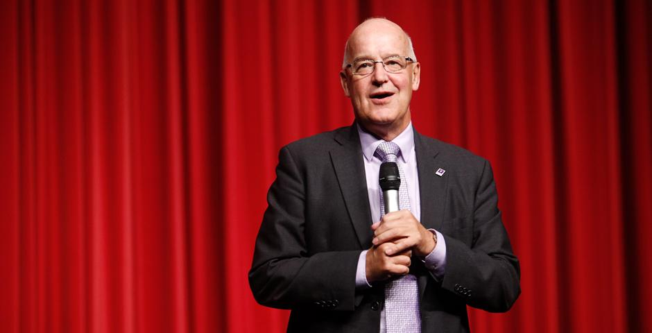 NYU Shanghai students paired portrayals of university life with comedic flair at the annual Reality Show on September 9, at the Shanghai Himalayas Art Museum. NYU President Andrew Hamilton delivered a welcome address. (Photo by: NYU Shanghai)