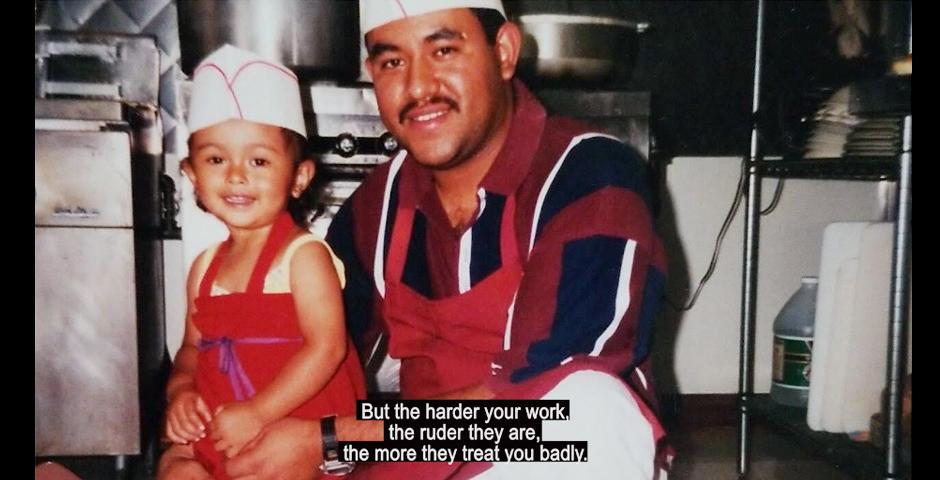 """Abigail Mata-Hernandez '22 and her father in a still from """"The American Dream?"""" a film about immigration to  the United States by Mata-Hernandez. The film tells the story of Hernandez's family, and how her immigrant parents shaped  her identity as a first-generation Mexican-American. """"It's really hard sometimes seeing how they get treated – how the media treats them, how the government treats them, because I know my parents aren't the only family that are giving back to the country, but are still treated like they're criminals, like they're invading the country. I felt a lot of pressure back home, that I needed to be this amazing child that was born in America, because you know for them, when they were in Mexico, 'El Norte,' is where the money is, that's where it's happening."""""""