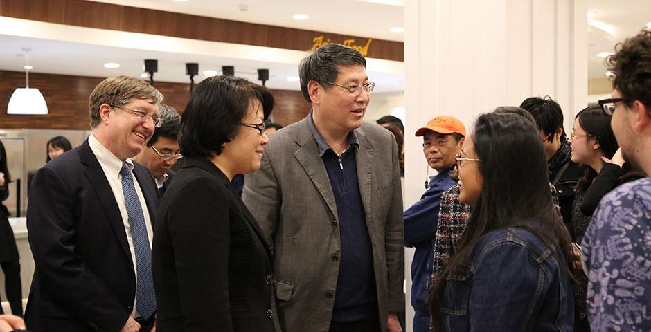 Tiehui Weng, Vice Mayor of Shanghai, visits NYU Shanghai. March 5, 2015. (Photo by Sunyi Wang)