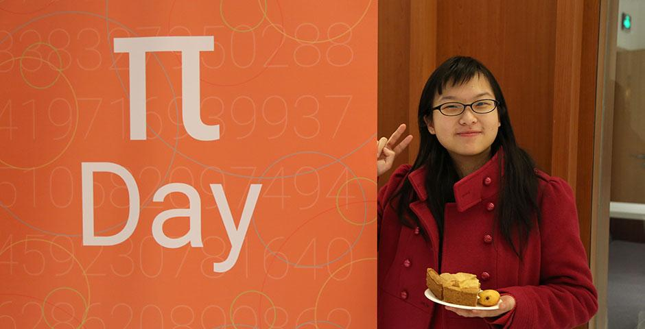 To celebrate Pi Day 2015, Math Society awarded slices of pie to students who could recite over 11 digits of pi. Congratulations to Omer Cohen (207 digits), Ziyuan Huang (100 digits), and Siyao Fang (83 digits), who placed first, second, and third, respectively. March 16, 2015. (Photo by Sunyi Wang)
