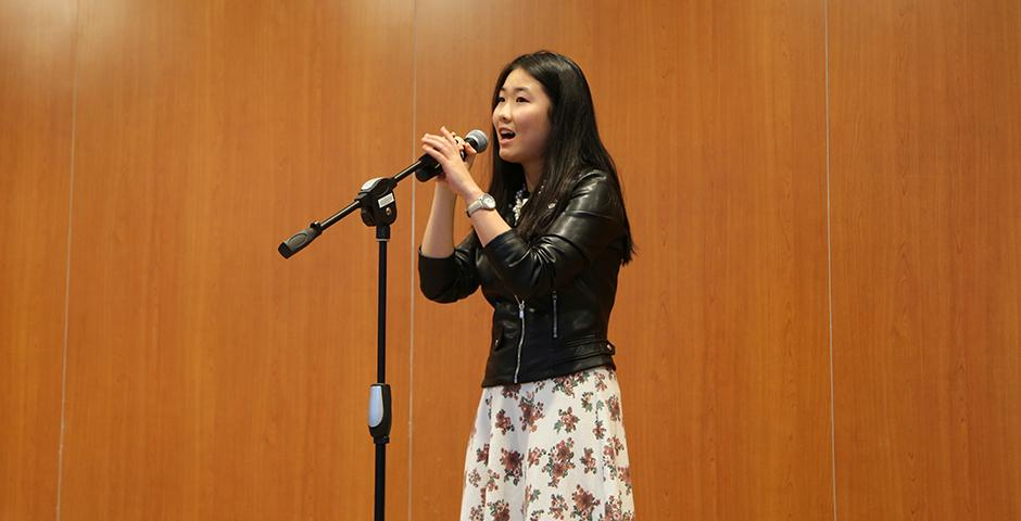"""NYU Shanghai Youth League is organizing  its first ever singing competition. The preliminary auditions held on Nov. 9th to Nov. 13th, 2015. The final competition will take place on Nov. 18th, 2015. The top 10 singers in the finals will win the title of """"Campus Singer of the Year"""". (Photo by: Wenqian Hu)"""