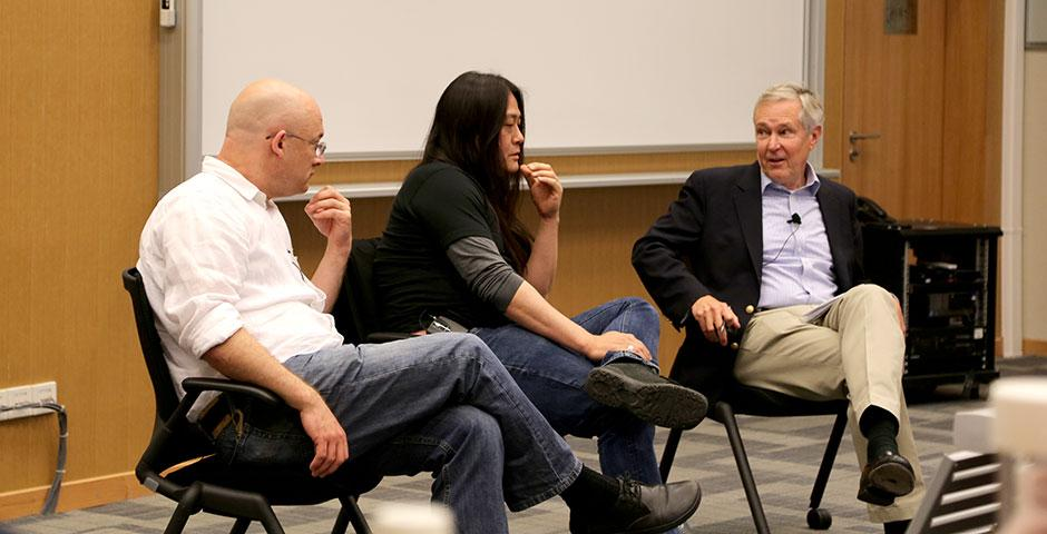 NYU Shanghai professor Clay Shirky, Baidu Director of International Communications Kaiser Kuo, and renowned journalist James Fallows sit down for a conversation about China's ever-evolving social media. April 21, 2015. (Photo by Annie Seaman)