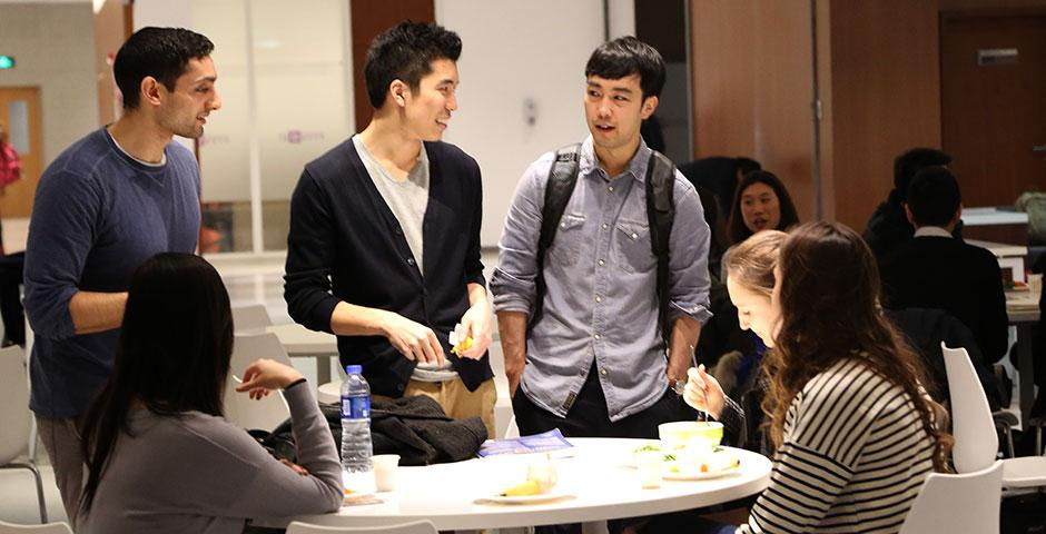 NYU Shanghai students kicked off the Spring 2015 semester with a variety of fruits at the official Welcome Back Mixer. January 26, 2015. (Photo by Sunyi Wang)