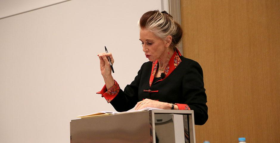 """Professor of Law Catharine MacKinnon speaks on """"Trafficking, Prostitution, and Inequality"""" at NYU Shanghai. February 5, 2015. (Photo by Dylan J Crow)"""