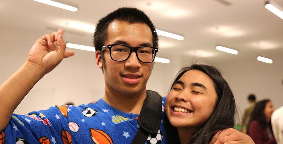 Students—some dressed in sleepwear for Viva La Violet's Pajama Monday—gather in the B1 rec area for ice cream treats. April 20, 2015. (Photo by Kevin Pham)