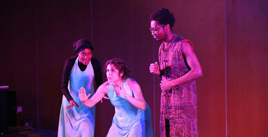 The Thespians perform 'Tempests,' an original production combining Shakespeare's 'The Tempest' and Aimé Césaire's 'Une Tempête.' April 26, 2015. (Photo by Annie Seaman)