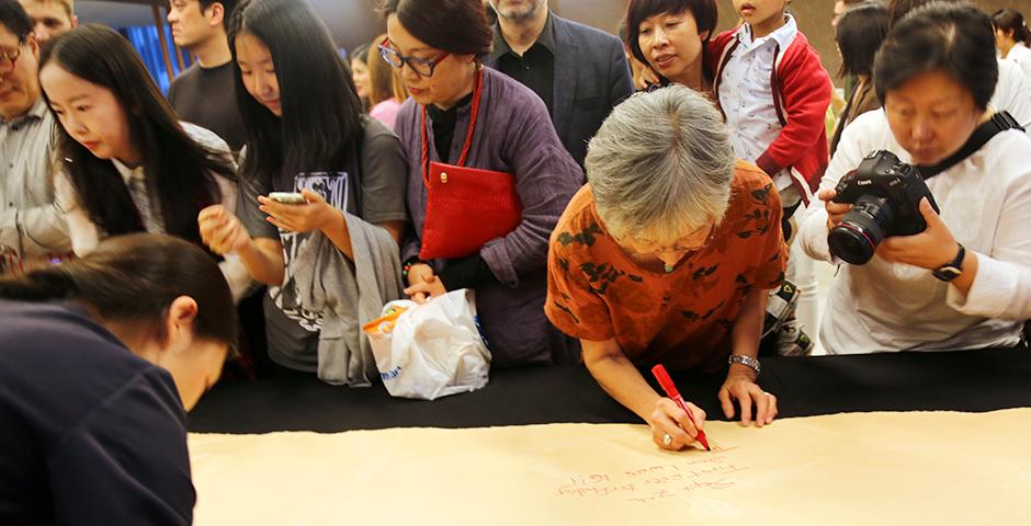 """""""Ode to Dancing Ink"""" of Qin Feng at NYU Shanghai Art Gallery Opening on October 25, 2015.  (Photo by: Annie Seaman)"""