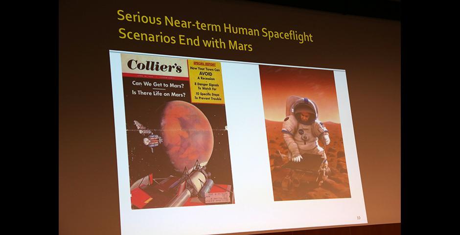 10月29号晚,师生及观众们带着各自的太空梦想,兴致勃勃地前来倾听美国华盛顿史密森尼国家航空航天博物馆副主任、著名太空探险史学家Roger D. Launius博士的演讲。他梳理了人类探索外太空的发展史,激发出在场观众对于人类探索未知以及机器人制造的热烈探讨和思考。 (摄影: Ibrahim Saeed)