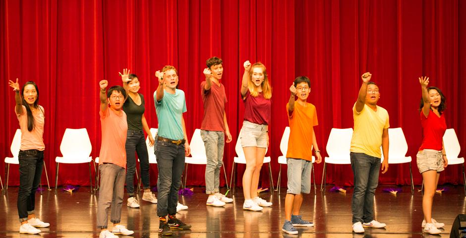 NYU Shanghai students paired portrayals of university life with comedic flair at the annual Reality Show on September 9, at the Shanghai Himalayas Art Museum. NYU President Andrew Hamilton delivered a welcome address. (Photo by: Shikhar Sakhuja)