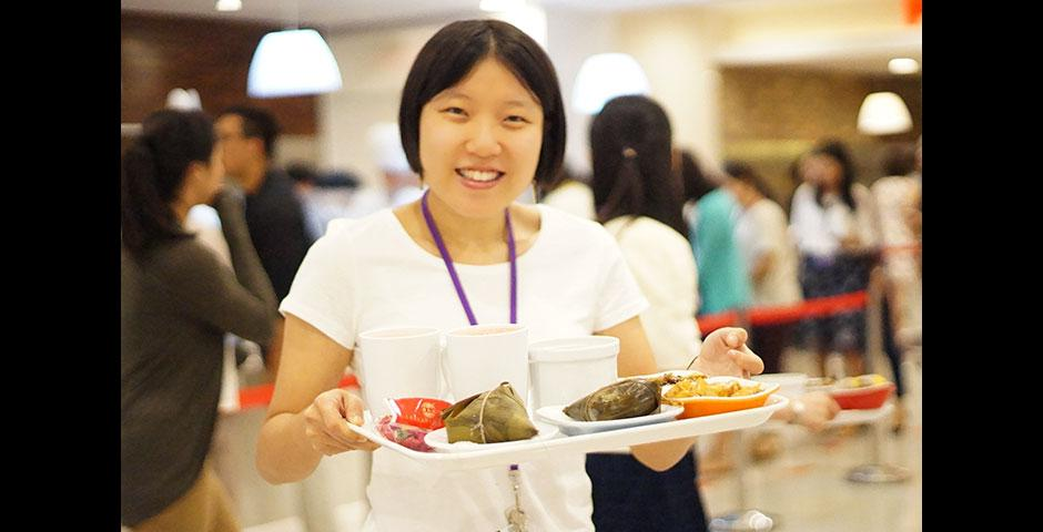 The NYU Shanghai community celebrates Dragon Boat Festival with traditional zongzi and colorful satchets. June 19, 2015. (Photo by Charlotte San Juan)