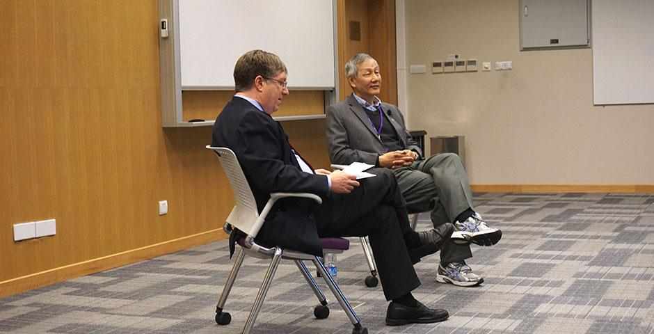 C.C. Chu, renowned for his inventions in biomaterials, sits down with NYU Shanghai Vice Chancellor Jeff Lehman. March 24, 2015. (Photo by Mei Wu)