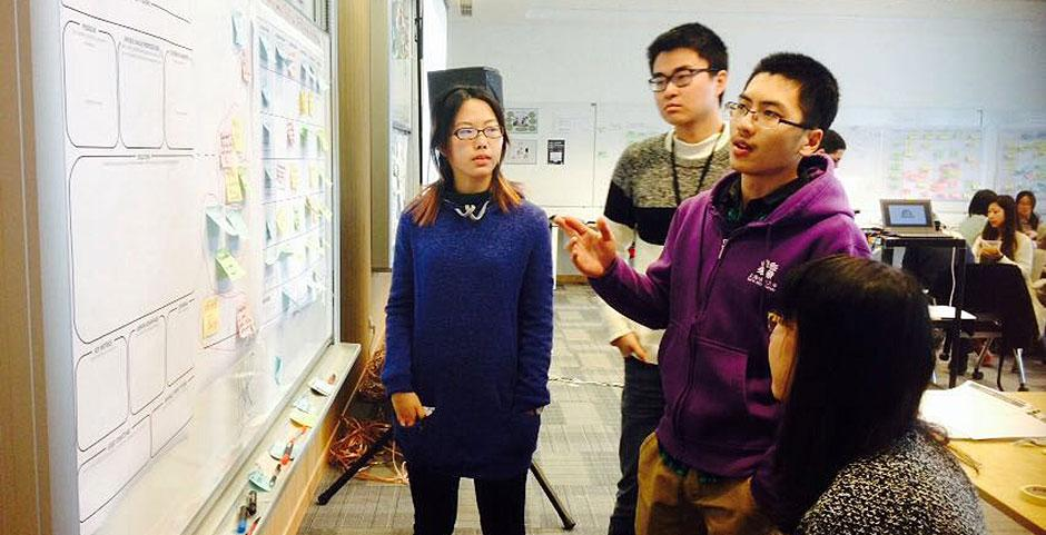 The first-ever DBS Digital Express Challenge at NYU Shanghai provides participants with Design Thinking and Lean Startup methodology training. January 22, 2015. (Photo by Tannia Xia)