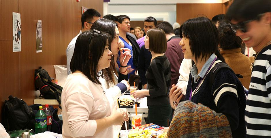 Students gather in the B1 Cafeteria hallway to meet this semester's Student Government Election candidates before the final round of voting. March 26, 2015. (Photo by Kadallah Burrowes)