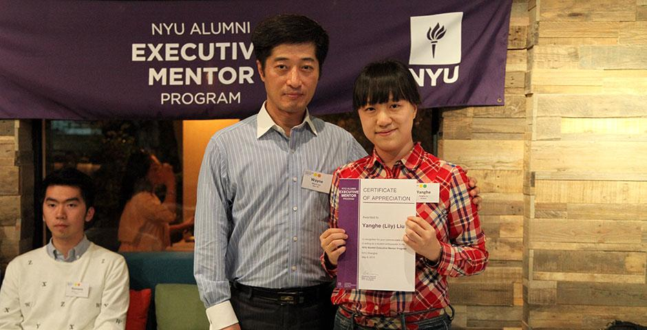 The NYU Alumni Executive Mentor Program held its end-of-semester appreciation dinner at naked Bite in Puxi, where student mentees read aloud thank you letters to their mentors; all participants were awarded certificates of appreciation. Several new alumni were welcomed to act as mentors for next year's program. May 8, 2015. (Photo by Tingting Wang)