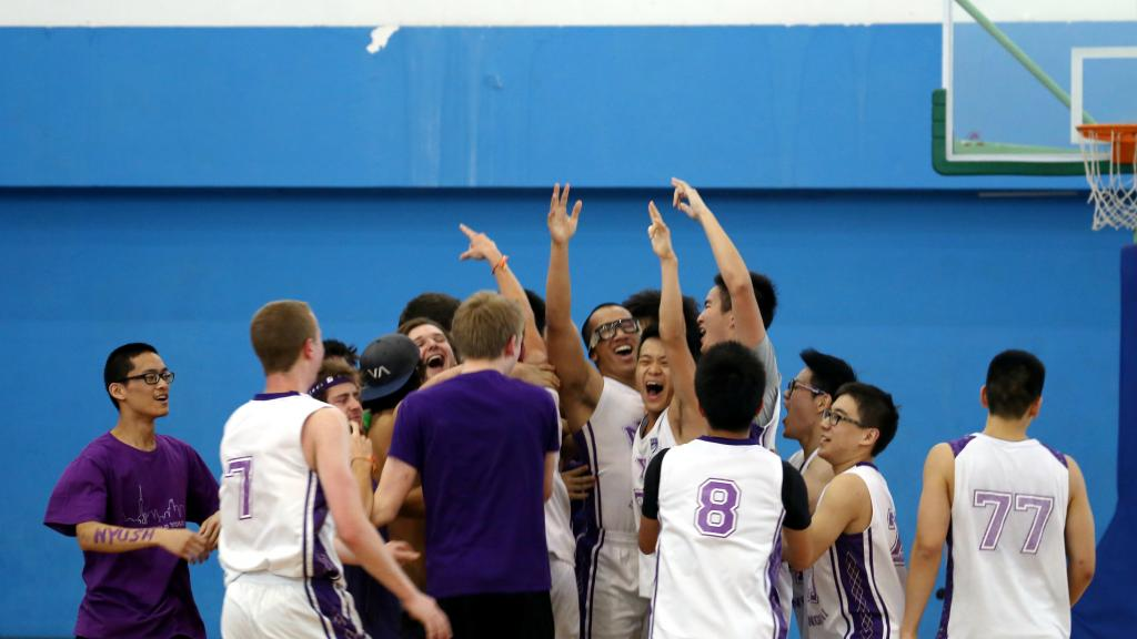 Men's Basketball Team Wins Home Game, April 16, 2014. (Photo by Nicole Chan)