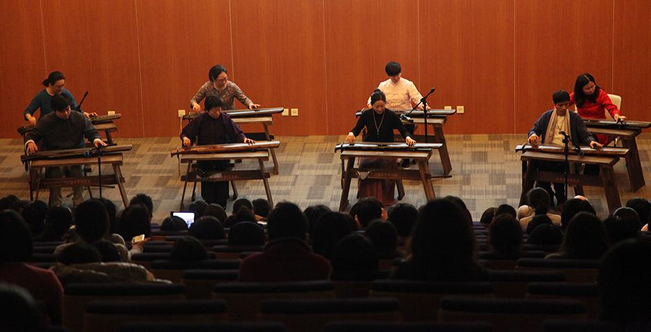 A talk and performance featuring the guqin, a Chinese stringed instrument, was led by Dai Xiaolian, professor of Chinese music at the Shanghai Conservatory of Music on the evening of February 3.  (Photos by: Ewa Oberska)