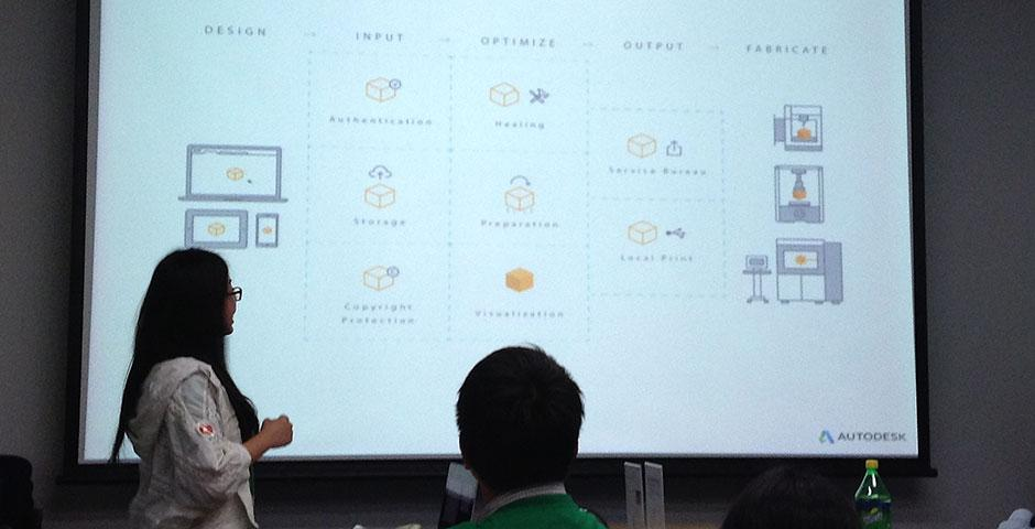 Participants of the Autodesk IMA Spring 2015 Smart Home Design Challenge present their projects at Autodesk. Final presentations are set to take place at the end of the semester. April 13, 2015. (Photo by Marianne Petit)
