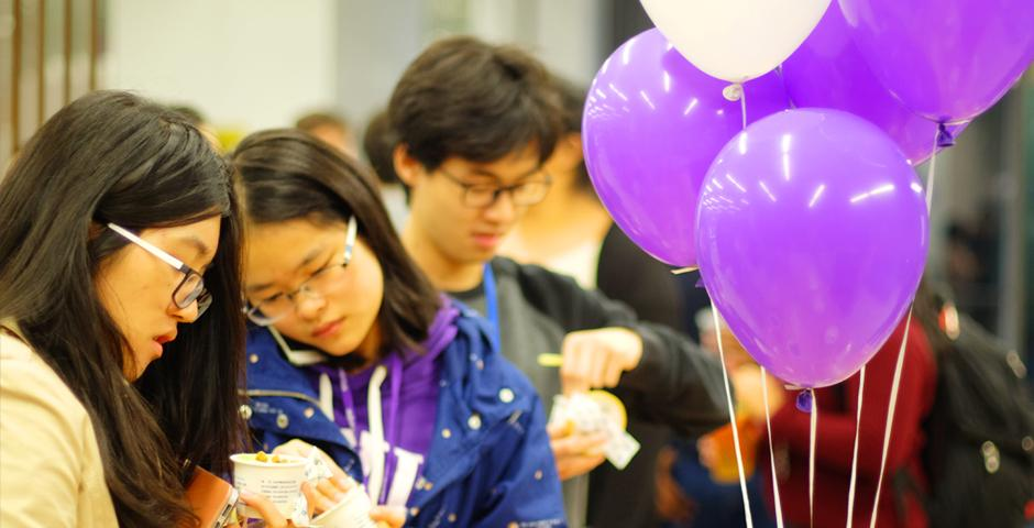 Close to 200 students joined the 2013 Fund launch event on Tuesday, November 22. The need-based scholarship goes to incoming freshman at NYU Shanghai. (Photos by: NYU Shanghai)
