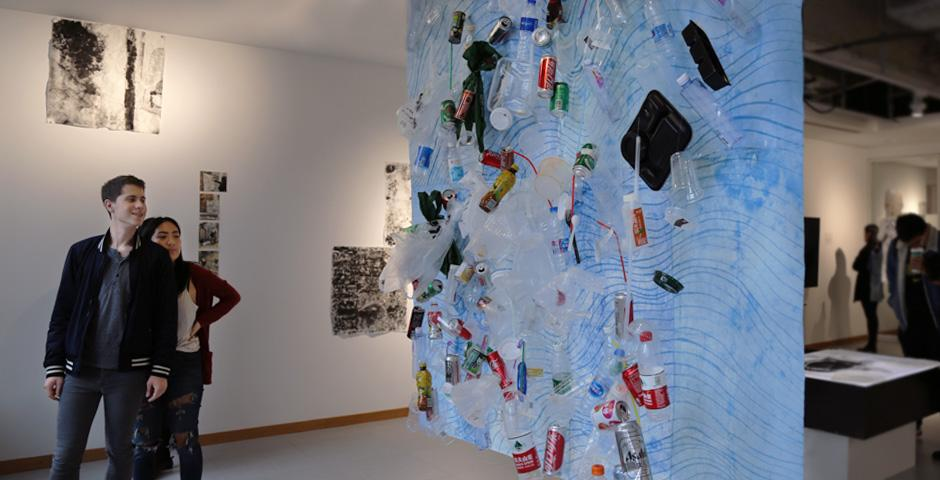 """""""The trash is present but abstracted when looking through the painting. When one walks around and faces it, specific objects are recognized. This is where we admit our contribution to the problem of marine pollution,"""" Gligic said."""