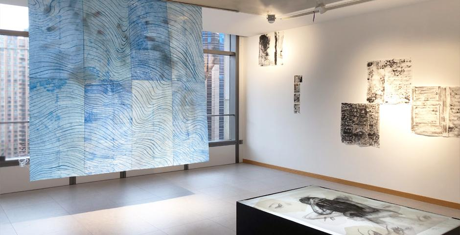 Through the installation Behind the Wave, Milica Gligic '18 tried to capture the gentle and relaxed motion of open water and contrasted it with the vast amount of trash that lies below the surface.