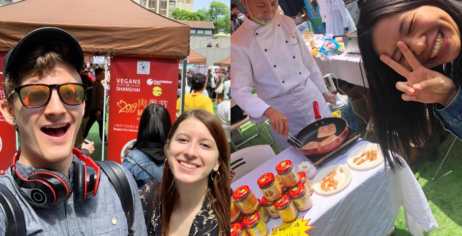 Students ventured off campus to check out Shanghai's first ever vegetarian 'MeatFest' organized by non-profit advocacy brand Vegans of Shanghai, which showcased 100% plant-based meat alternatives--some which have been around China for over 1000 years. Left: Green Shanghai president Josh Jensen '21 and Danielle Sanger '19. Right: Cinny Lin '22 poses in front of a food stall featuring vegetarian ham. Photo by Neil Patkar '22.