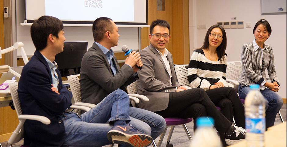 Leading entrepreneurs including Kevin Guo, founding co-CEO of Dianrong; Phil Ren, founding CEO of Mingdao; and Kerr Hu, founding CEO of Hippo Animation met with NYU Shanghai students and discussed China's startup landscape at the invitation of Elizabeth Chen, NYU Shanghai Senior Executive in Residence. (Photo by: NYU Shanghai)