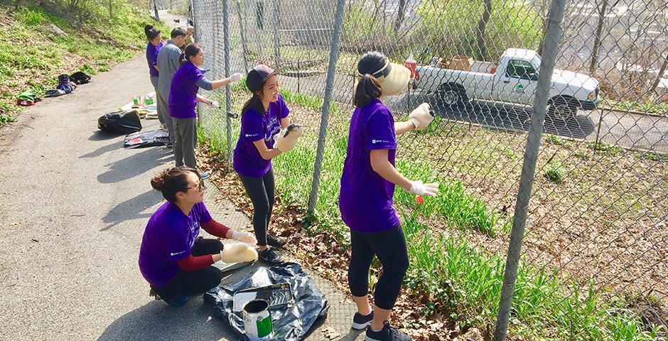 """作为纽约大学第二届年度全球服务日的活动之一,4月28日,上海纽约大学及纽约大学的校友们在纽约地标崔恩堡公园里粉刷围栏。上纽大全球校友主席、2017届的Mike Chen说:""""很高兴能在亲近自然的同时,和大家一起为城市环境做出贡献。"""""""